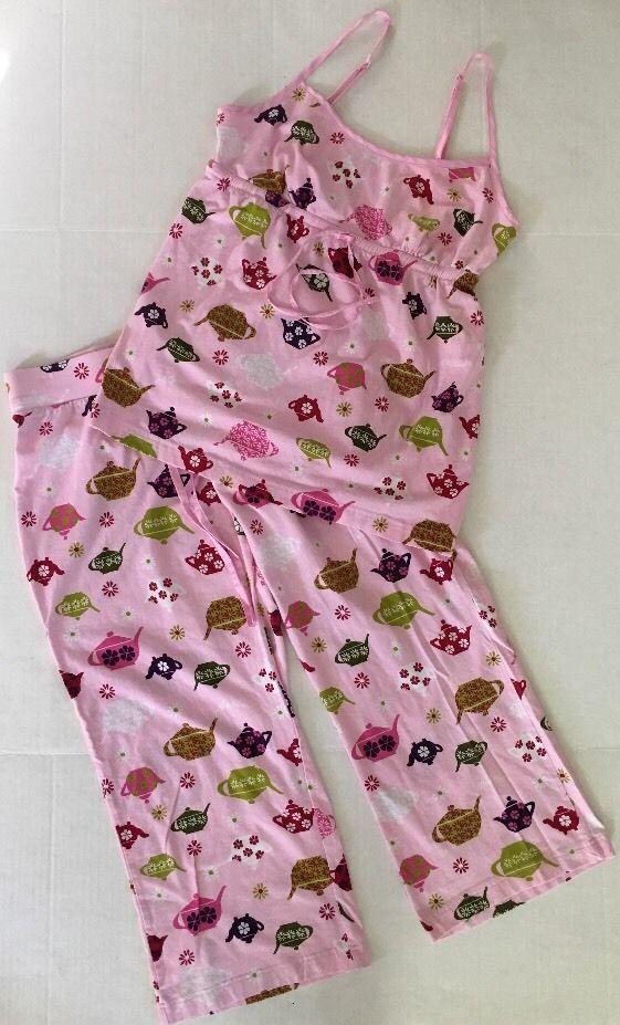 Nick & Nora PAJAMAS top bottoms PINK TEAPOTS Women's cotton knit sz Small #NickNora #PajamaSets