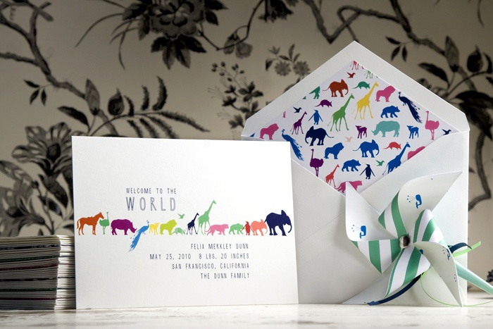 Animal Pattern baby announcement