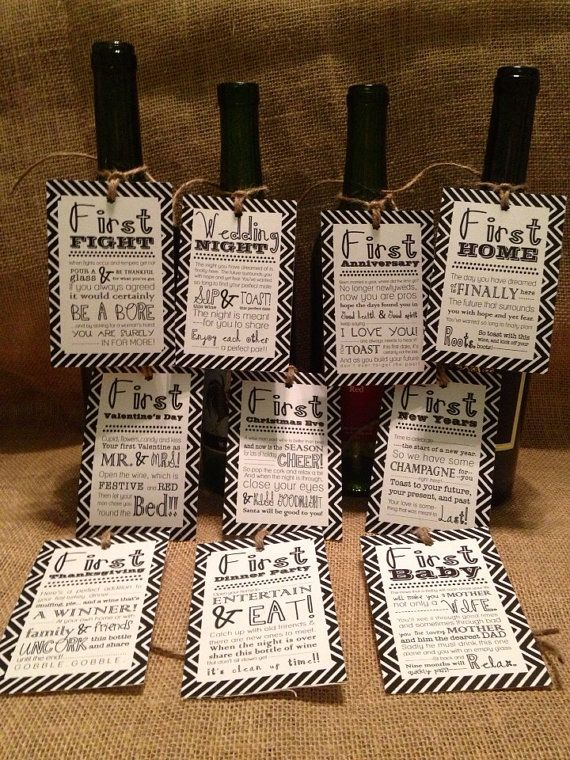 This is the cutest and adorable idea for a bridal shower/wedding gift! It is my go to present. This listing is for 10 chevron gift tags . Each tag marks a memorable milestone in the first year of marriage through a sweet poem! Once you receive the tags attach them to the wines bottle of your choice.    Choose 10 of these marriage milestones and message me which ten you want in your order:    Wedding Night  Honeymoon  First Dinner Party  First Thanksgiving  First Valentines Day  First…