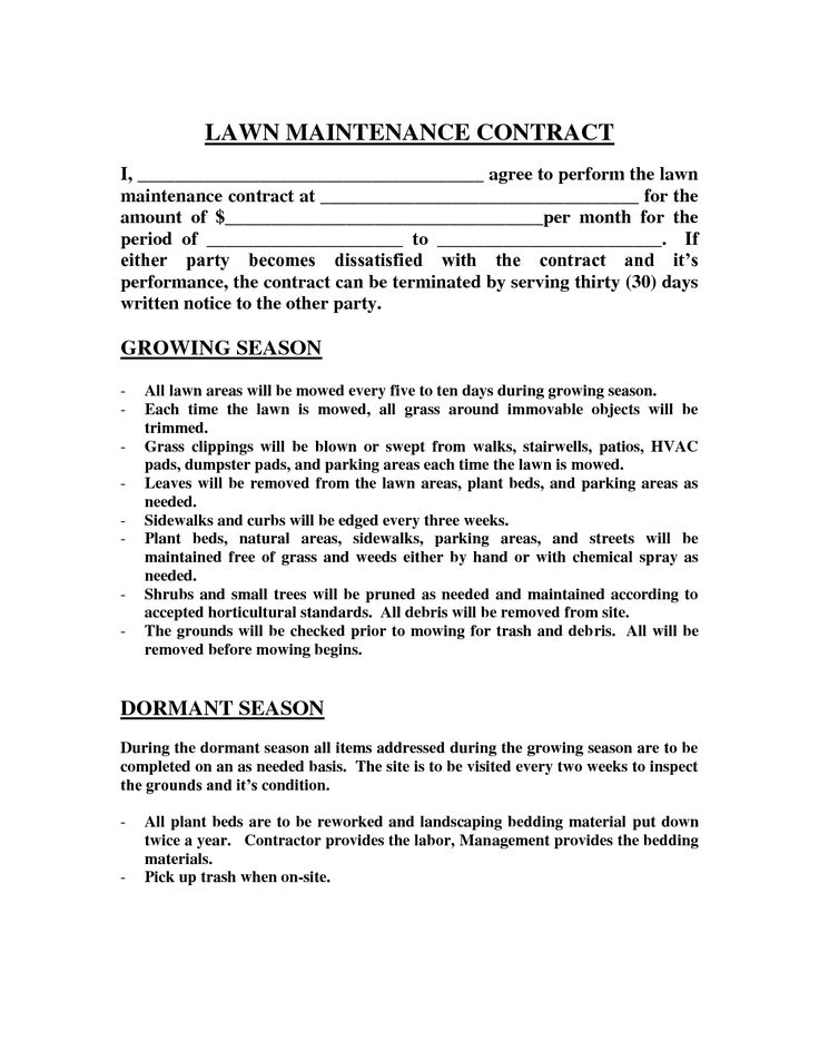 Lawn Maintenance Contract images - lawn maintenance contract agreement