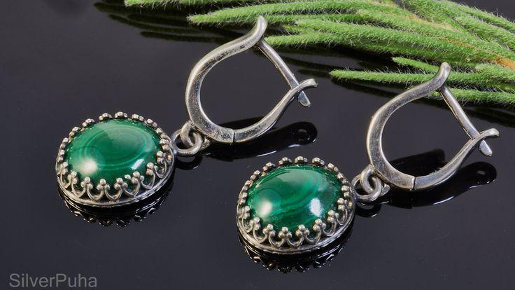 Malachite sterling silver earrings by SilverPuha on Etsy