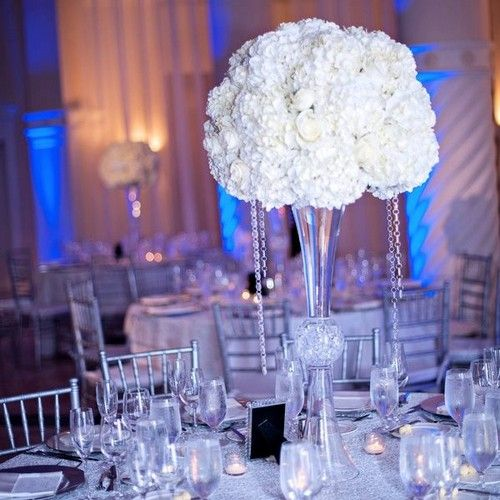 wedding centerpieces trumpet | white topiary arrangement in two opening trumpet vase model tfm cp250 ...