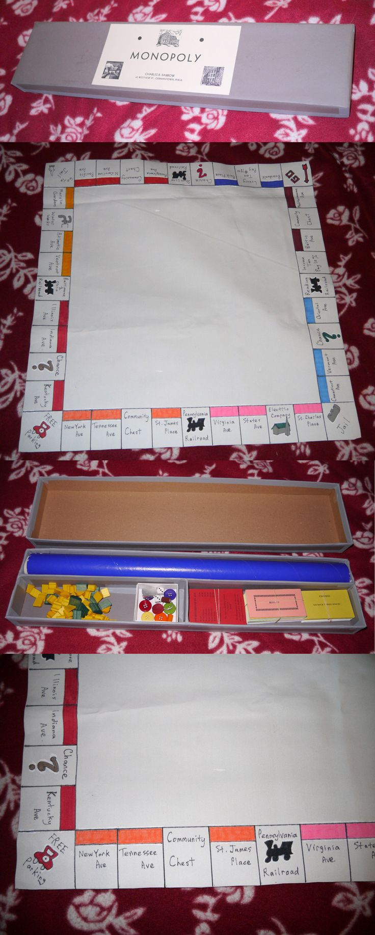 Vintage manufacture 19100 darrow tie box oilcloth 1933 style reproduction monopoly game set