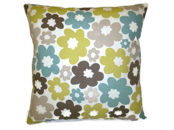 "Cushion Pillow Cover Green Blue Taupe Designer Pillowcase Sham Slips Accent Throw Pillow. ONE x 16"" (40cm)"