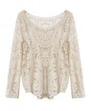 Loose Fit Flower Lace Top with Wide Round Neckline