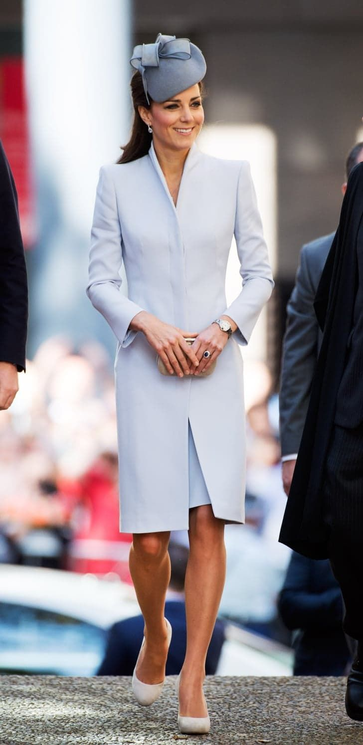 Pin for Later: Kate Middleton Didn't Wear a Single Bad Outfit This Year To Celebrate Easter, Kate Donned a Pale Blue Alexander McQueen Coat Dress in Sydney It was a pale blue coatdress with sharp shoulders (and a hat just one shade darker) for Easter church services at St Andrew's Cathedral in Sydney.