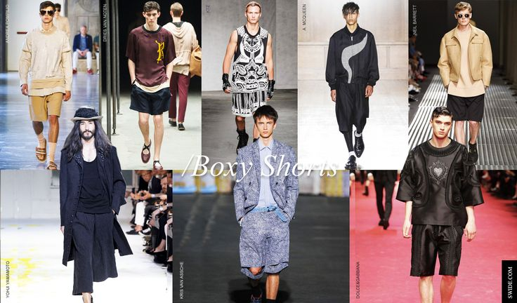 Men Trends Spring Summer 2015: Boxy Shorts - Shorts are a summer staple, and for the coming season they are definitely the game changers. Forget micro shorts, it's all about boxy, or oversize shorts. From board short inspired ones to boxy tailored versions in technical fabrics, printed, embroidered and even brocade ones, shorts will be your go to item.