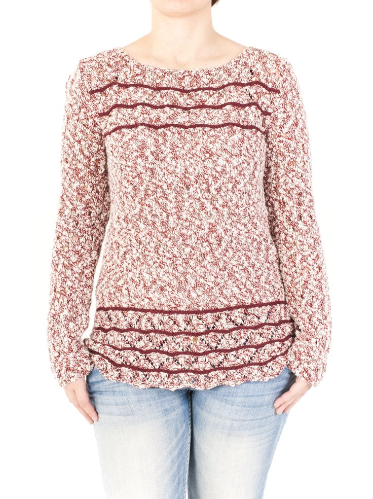 Jersey de punto con cuello barca calado de mujer con detalles elegantes en parte superior e inferior. En 4 colores para que combines a tu gusto.