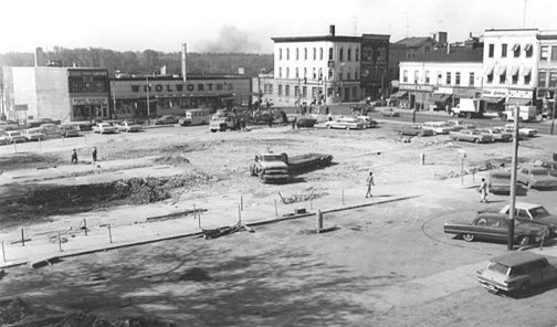 A September 1965 view of the empty Market Square following demolition of old city hall. The Woolworth's store shown in the picture on Colborne Street is now the site of the Brantford Public Library. The three-storey corner building to the right of Woolworth's is the current location of Grand River Hall. (Expositor file photo)