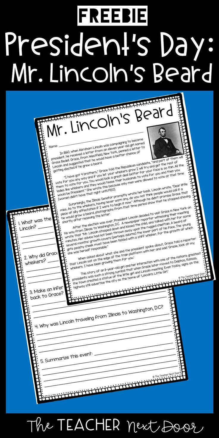 This two page comprehension passage with questions, tells the true story of how Abraham Lincoln decided to grow out his beard! Your 4th and 5th grade students will enjoy learning about this story while practicing their reading skills.