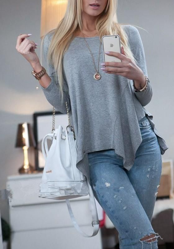 81a95263a178 Grey Plain Irregular Round Neck Long Sleeve Casual T-Shirt ...