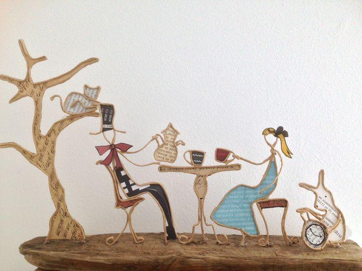 Alice au pays des Merveilles - figurines en ficelle et papier