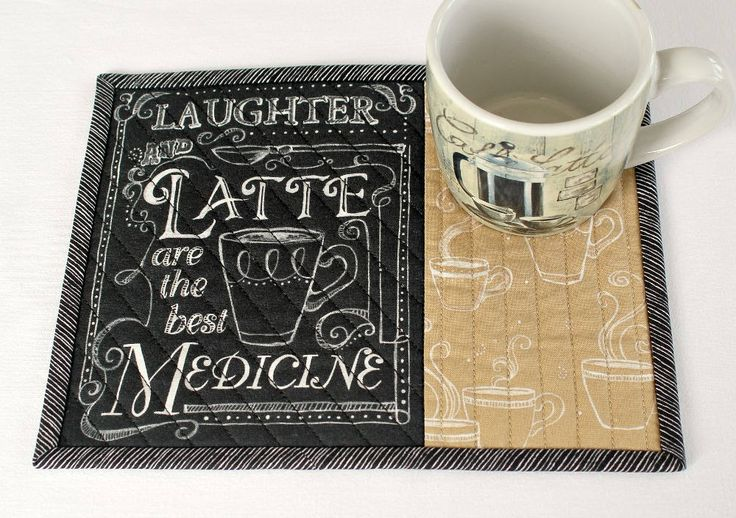 Quilted Mug Rug, Coffee Quote, Snack Mat, Black Tan with Words, Candle Mat, Quiltsy Handmade by RedNeedleQuilts on Etsy