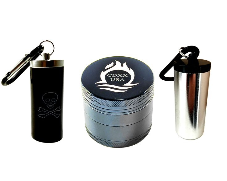 """New 2"""" Four Piece Professional Grinder for Herbs Spices Tobacco made of Premium Grade Aluminum with Magnetic Top Includes Both a Black and Silver Stash Containers"""