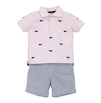 """Little Me® Baby Boys Whale """"Polo"""" Tee And Shorts Set"""