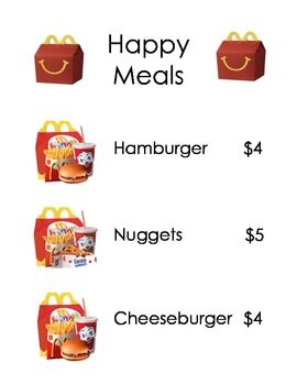 Dramatic Play McDonalds Menu
