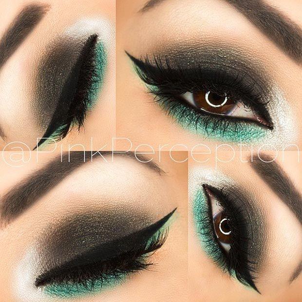 Black & Green Eye Makeup Look for Brown Eyes