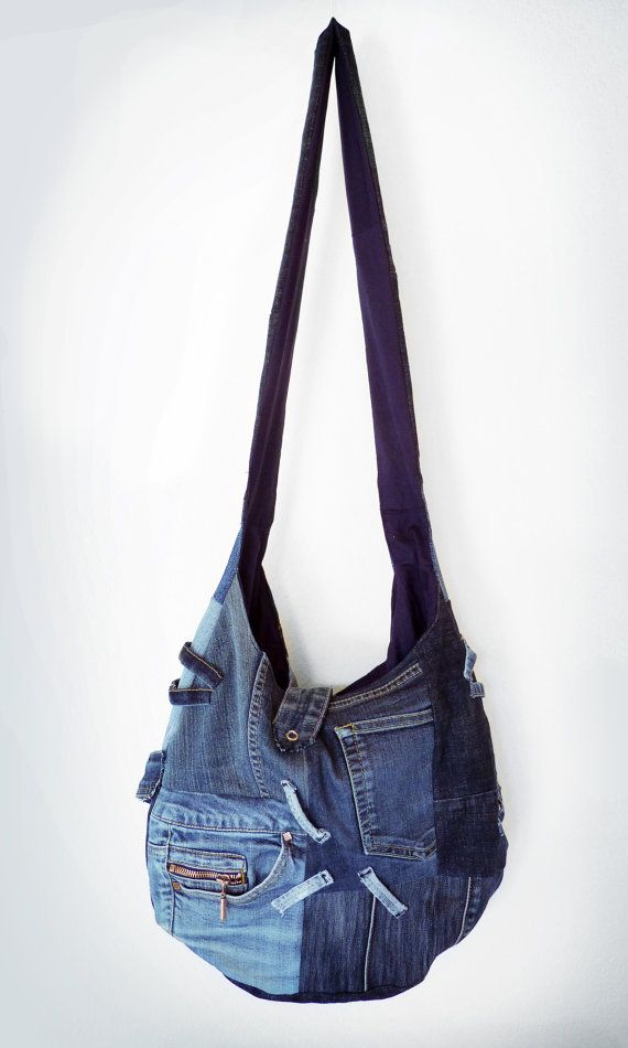 Handmade upcycled jeans patchwork shoulder bag eco by JeansNStuff, €90.00