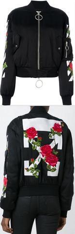 Roses Embroidered Bomber Jacket, Black
