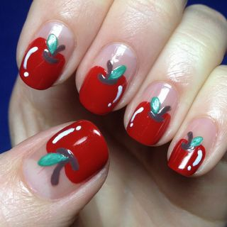 Apple Nails- This would be cute for a teacher the first day back at school!