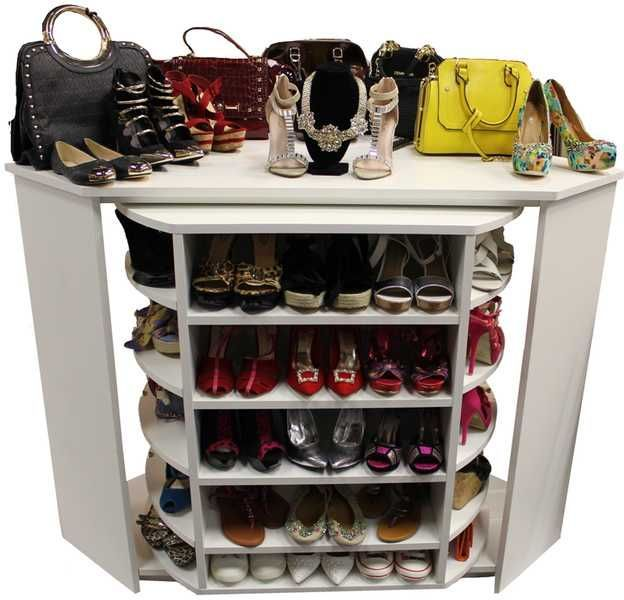 """""""Rack N Roll"""" A short version on the """"head over heels"""", Rotates 360° and have large storage capacity, fit 70 pairs of shoes, pocket books and accessories"""
