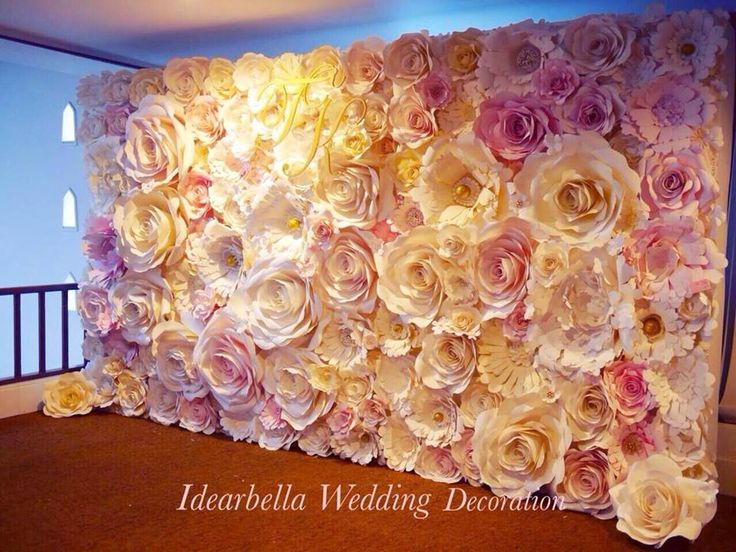 Pink Wedding Paper Flowers Backdrop