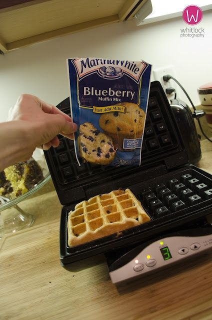 Waffles using muffin mix! GENIUS!  To turn the muffin mix into a waffle mix, follow the package directions but add an extra 1/3 to 1/2 cup of milk or water. The batter should flow slowly, like a thick pancake batter.    For a 16-ounce box of muffin mix, add an extra 1/2 cup of liquid; for a 12- to 14-ounce box, add an extra 1/3 cup; and for a 20-ounce box, add just under 3/4 cup.