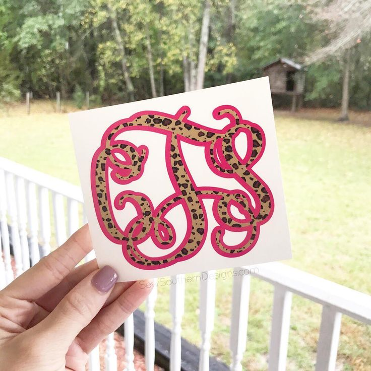 "94 Likes, 1 Comments - ShopSewSouthern.com (@sewsoutherndesigns) on Instagram: ""Cheetah print is so fun! This is our Layered Cheetah Monogram Decal! Choose your background color ❤…"""