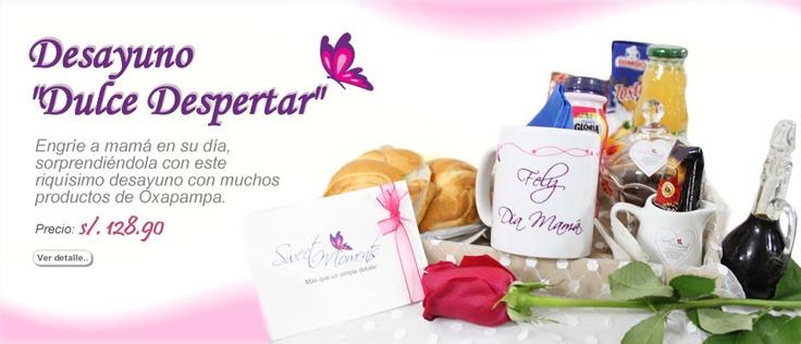 """Celebra el día de la madre con un delicioso Desayuno """"Dulce Despertar"""" que contiene productos de Oxa.pe y muchos productos deliciosos.  $48.50"""