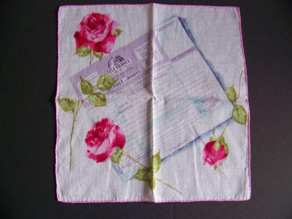 Tele France Telegram Handkerchief Hanky Hankie by shabbyshopgirls