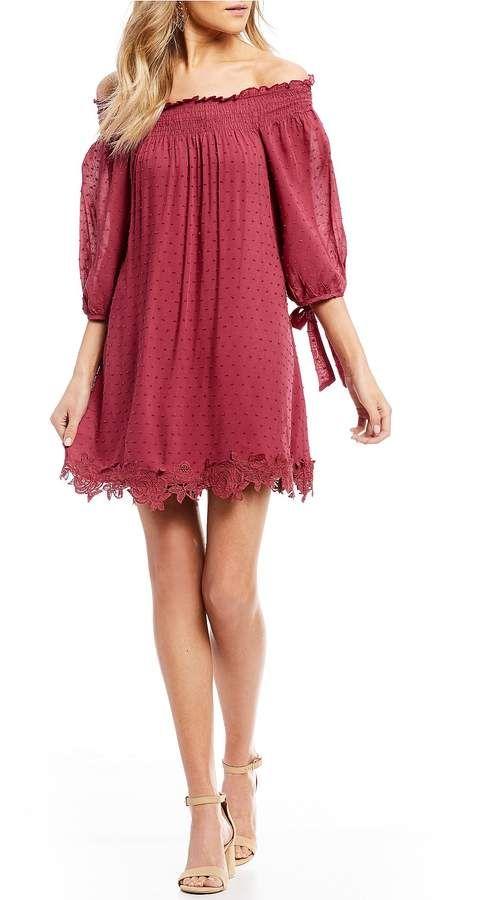 322d63e4f2 C & V Chelsea & Violet Off The Shoulder Clip Dot Shift Dress#ad ...