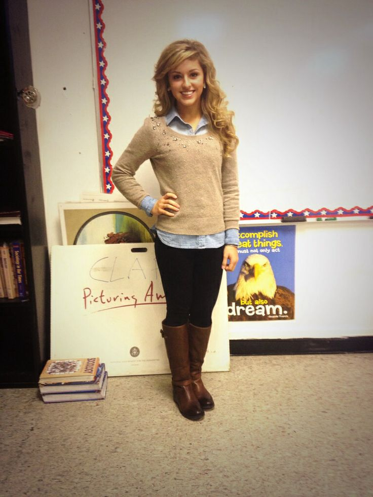 preppy outfit for school  sweater, denim, and boots