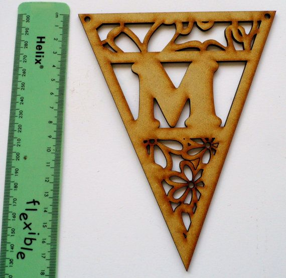 2mm MDF Letter Bunting Flags Flowers by simplysilverbyheena, $1.75