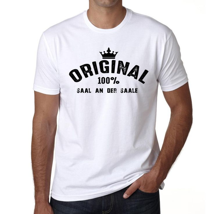 saal an der saale, 100% German city white, Men's Short Sleeve Rounded Neck T-shirt