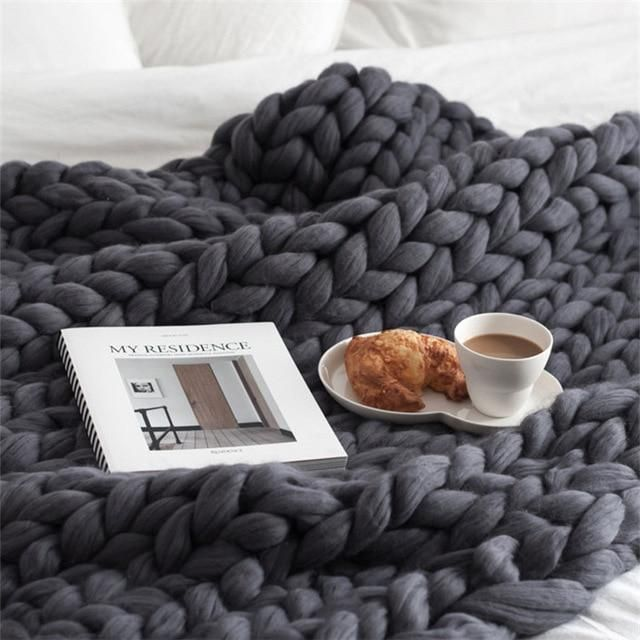 2020 MultiColor Große Warme Knitted Strickdecke Thick Garn Wolle Bulky Chunky