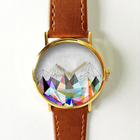 Geometric Mountain Watch Vintage Style Leather Watch by FreeForme