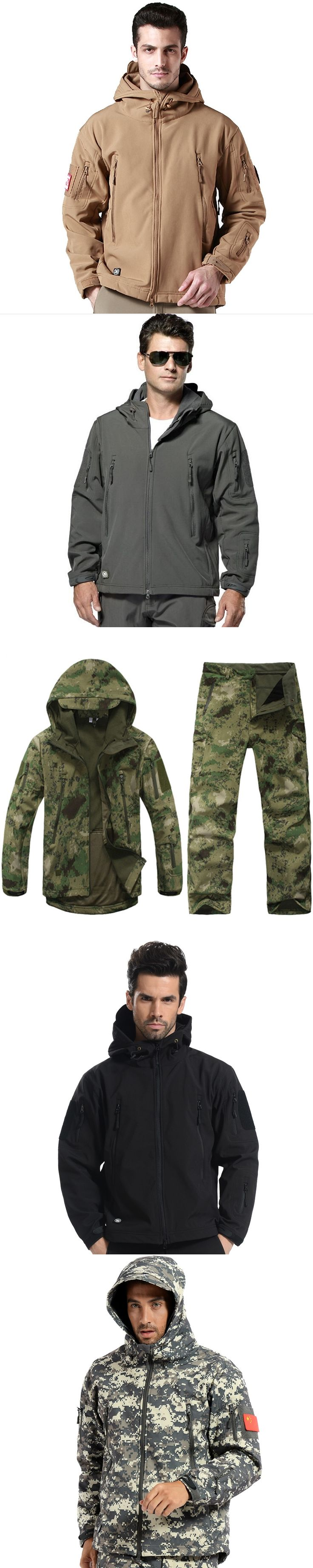 TAD V4.0 Gear Camouflage Shark Outdoor Waterproof Hiking Jacket Suit Men Army Hunting Set Military Hoody Softshell Jacket+ Pants