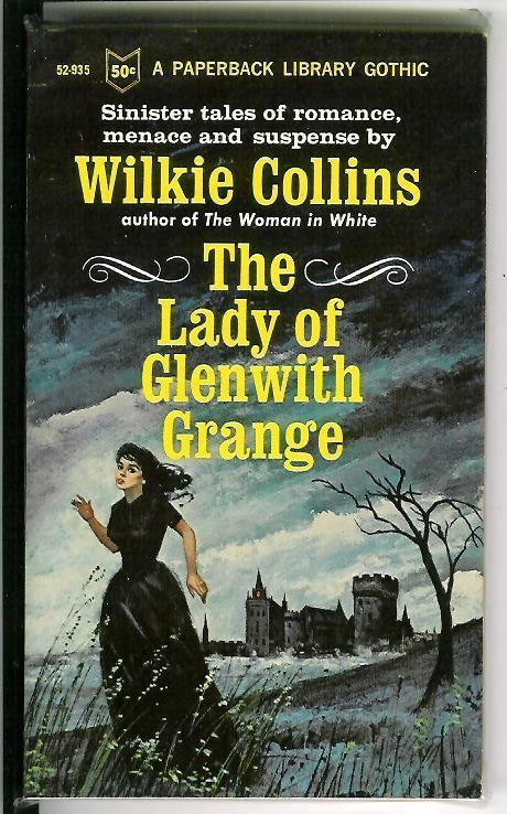 """The ever popular """"woman running from a house"""" theme. THE LADY OF GLENWITH GRANGE by Wilkie Collins rare US Gothic gga pulp vintage pb"""
