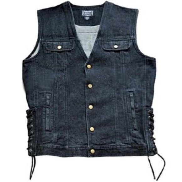 Black Denim Motorcycle Vest This authentic vintage style black denim vest by J&M's Products is not only perfect for bikers but for anyone who wants a casual look on a hot day. Wear this vest over a long sleeve shirt on a cooler day and get the cool look all year round while adding some extra protection. Black denim is the perfect way to stay cool both in the heat and in style. The seamless middle on the back of this black denim vest makes it perfect for motorcycle patches. Jackets & Coats…