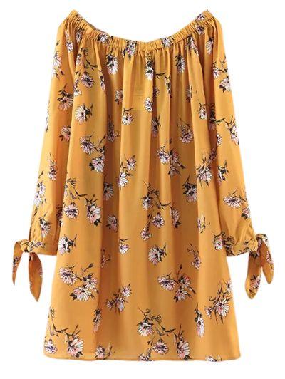 $20.99 Floral Off Shoulder Shift Dress - YELLOW S