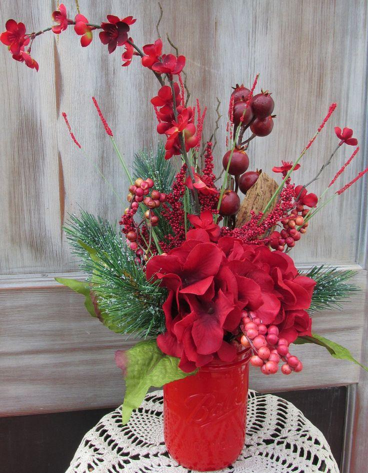 Christmas Mason Jar Floral Arrangement, Holiday Mason Jar, Christmas Hydrangea Mason Jar, Christmas Décor, Holiday Décor, Mason Jar Flowers by SilvaLiningDesigns on Etsy
