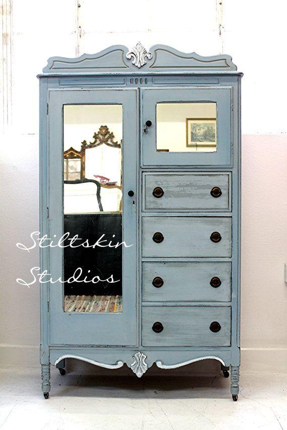 Shabby Cottage Antique Chifferobe Dresser by StiltskinStudios