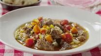 Starting with stew meat, onion, celery, and carrot, this recipe yields a beef, mushroom, and barley soup sure to become a family favorite.