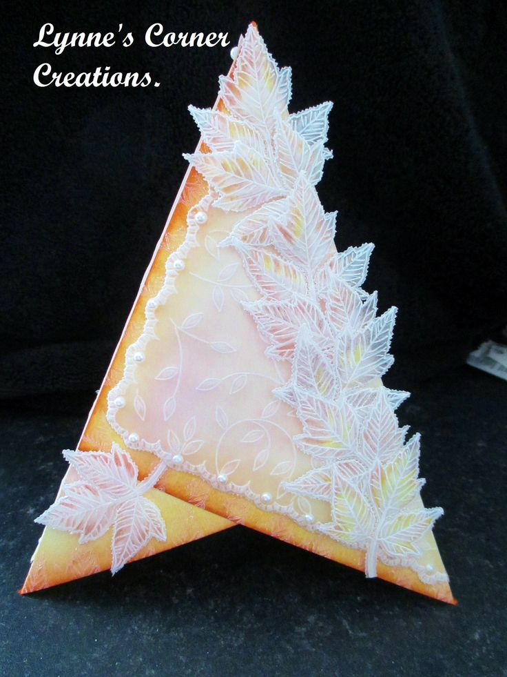 Pyramid card with parchment embellishment.