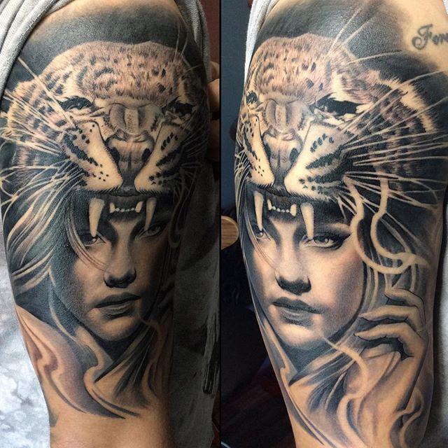 Finished product! #tattoo #spooky #abeyalvarez #3footradiustattoo #addingtothecollection #blackandgrey #bnginksociety #ink #inkedmag #inksav #theinkedlife #sleeve #inprogress #jaguar #headdress #thirdbiggestcatintheworld #animal #fanatic