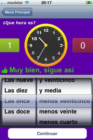 on esta aplicación toda la familia podrá aprender las horas. Posibilidad de seleccionar reloj analógico o digital. Disponible en cuatro idiomas, Inglés, Francés, Español y Catalán.  Esta versión gratuita muestra publicidad. Compra la versión completa y no aparece publicidad.http://itunes.apple.com/es/app/learn-hours-with-ads/id486996709?mt=8=1