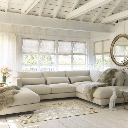 Dakota Sofa and Footstool - New For Summer - Our Sofa Collection - Sofas & Upholstery The Dakota 2 Seat with Right Chaise and Large Footstool are photographed in Caleido Light Beige.£3,495 and footstool is £670