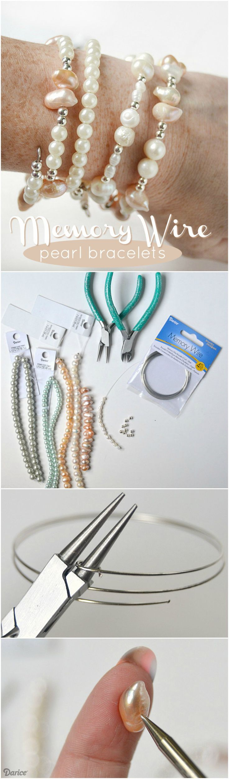 Glass pearl beads and freshwater pearls combine in this easy memory wire bracelet tutorial. What a great beginner jewelry making project!