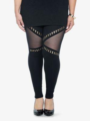 Mesh Inset Studded Leggings