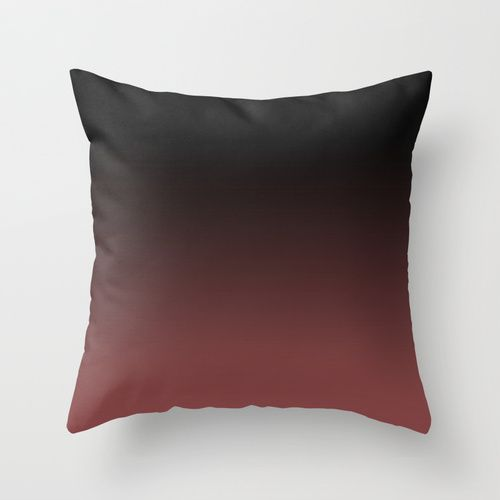 Marsala Ombre Throw Pillow by Zeosite. Featuring Pantone color of the year Marsala & inspired by the Elie Saab Spring summer 2015 collection of ombre dresses. Fashion, home, decor, cushion, cover, interior, design, fashionista, catwalk, gradient, burgundy, black, colour, ombré, ombre cushion Marsala, contemporary, modern, chic, apartment, style, stylish, red, fade, wine, plum, warm, tone.